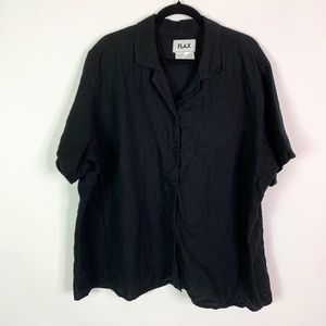 Flax Top Blouse Women 3G 3X Black Short Sleeve